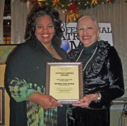 Debra Ann Byrd receives the Lucille Lortel Award from Jane White_0_0