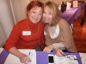 Fran McGarry, Salon Series Chair, Ivy Austin (Networking Committee Members at the check in table)